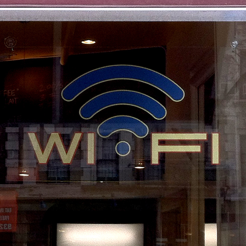 Sasha Coffee Company WIFI window sign